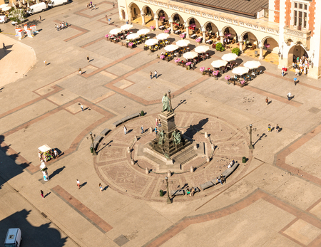 Ancient greenish monument in Krakow, Poland, topview