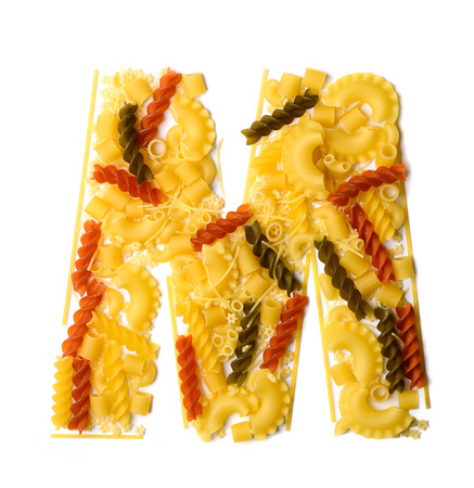 Pile of spaghetti forming a letter M