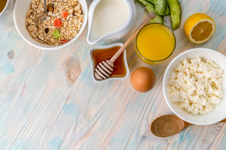 high calorie: Breakfast with vitamins, copyspace left on side Stock Photo