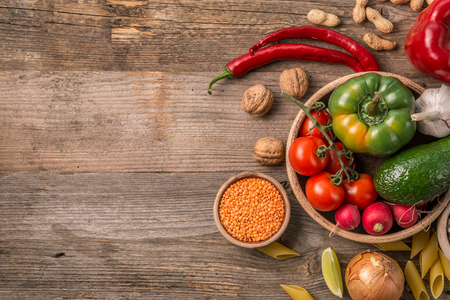 Variety of vegetables, space for text left, topview Stock Photo