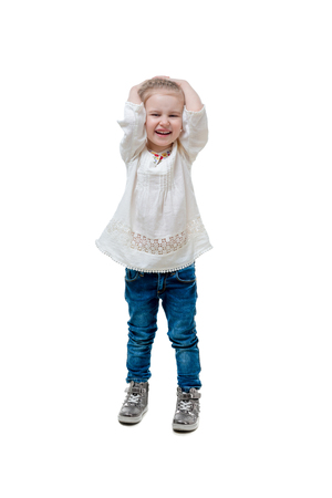 laughing kid in white sweater, isolated
