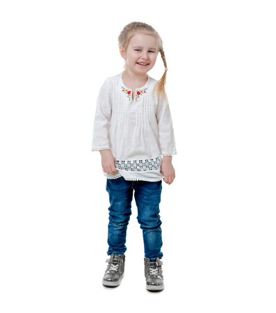 girl wearing white embroidered shirt, isolated Stock Photo