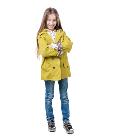 Preteen in casual clothes, isolated on white background