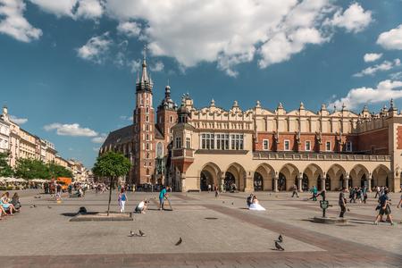 Wedding on cobbled square in polish krakow, Sajtókép