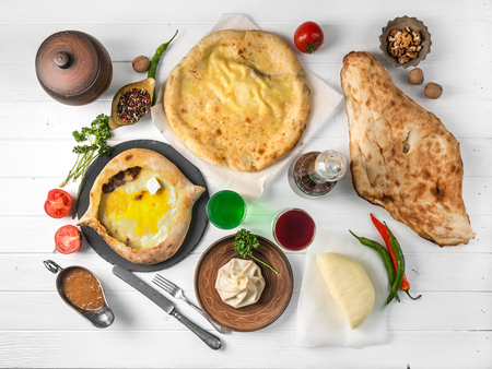 cuisine of eastern people, khachapuri and chiburekki, topshot
