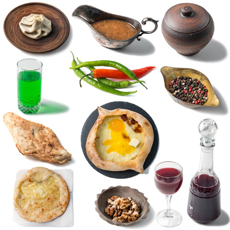 Set of georgian traditional foods, khachapuri, chebureki, khinkali