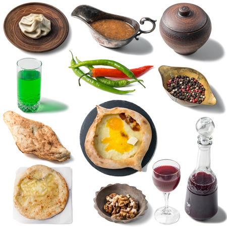 Set of georgian traditional foods, khachapuri, chebureki, khinkali 版權商用圖片 - 78567751
