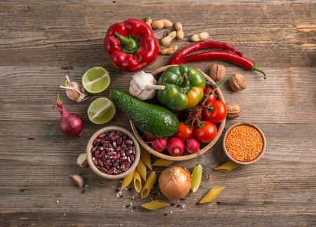 Cut lemot and pepper, fresh veggies, topview
