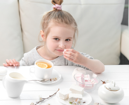 teaparty: Little girl with sweets around her