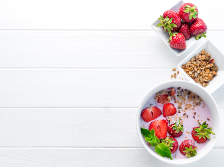 Nutritious breakfast with granola, copyspace left, topview Stock Photo