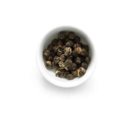 白いボウル、topview のジャスミン緑茶