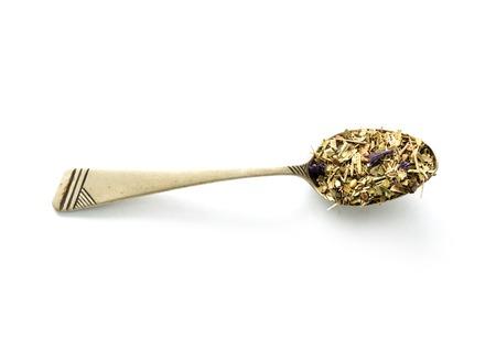 herbal tea, eastern medicine with flowers, topview