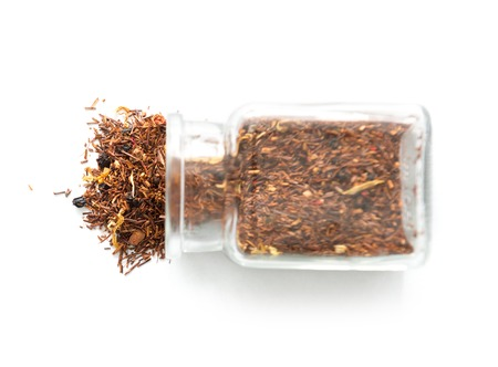 loose leaf: Jar full of red african tea, topview