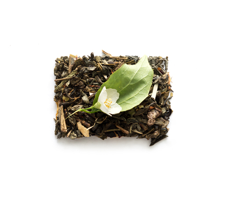 loose leaf: cube of green tea with jasmine, topview Stock Photo