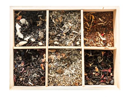 Wooden box, amazing collection of rare teas, topview Stock Photo