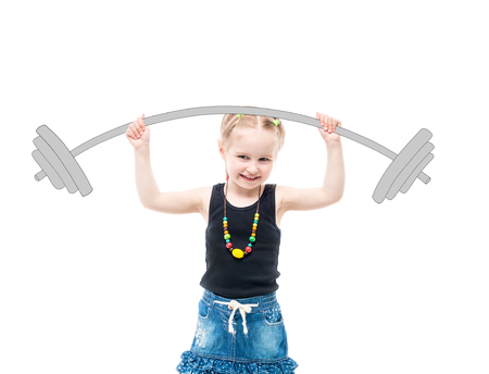 Little blonde kid holding small weights, smiling Stock Photo - 81279494