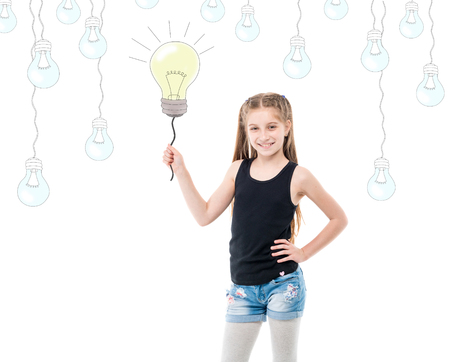 Teenage girl holding bright shiny lightbulb