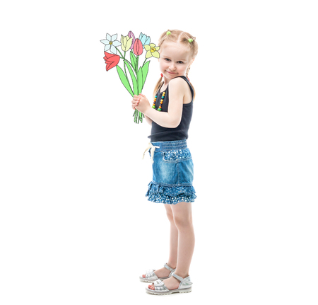 Lovely blonde girl standing with bouquet of flowers