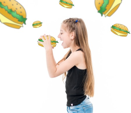 teen girl eating hamburgers, hamburgers around her