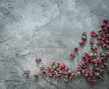 Little buds of dog roses scattered, copyspace, topview
