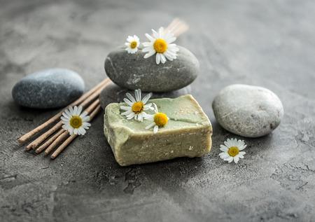 Handmade soap with chamomile, smoking lavender sticks Banco de Imagens - 81292425