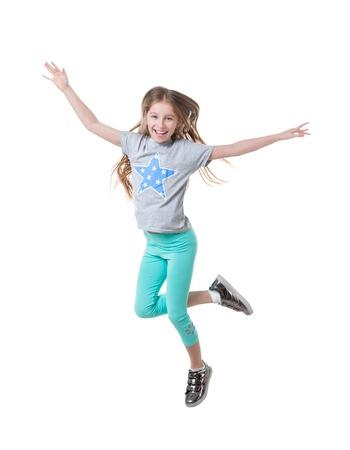 girl in green leggings, dancing, isolated