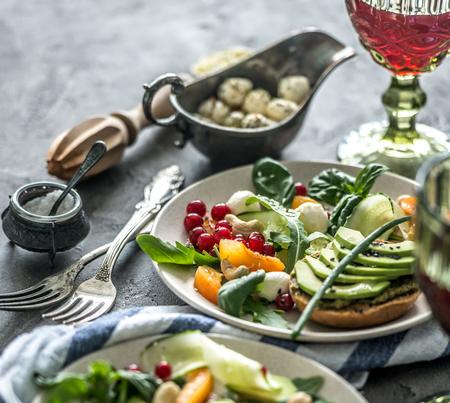Vegetarian dinner - salad and wine