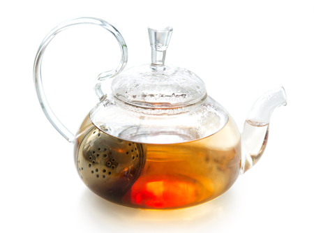 Transparent teapot with welding isolated on a background