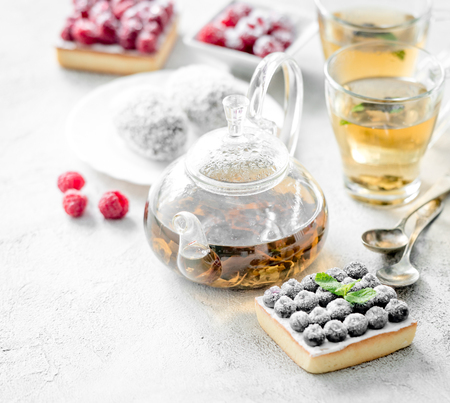 Breakfast with a variety of cakes and tea. Stock Photo