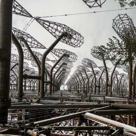 Duga-3 Soviet radar system in Chernobyl Stok Fotoğraf