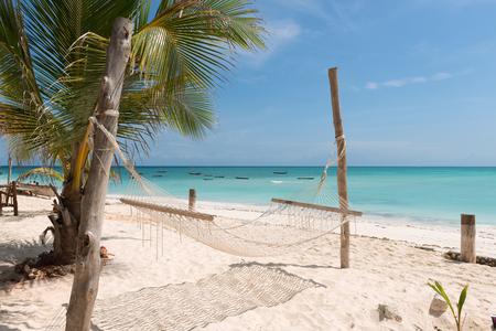 ザンジバルのビーチにヤシの木が付いている白い手作りハンモック