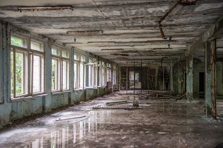 abandoned school hall in Pripyat Stock Photo