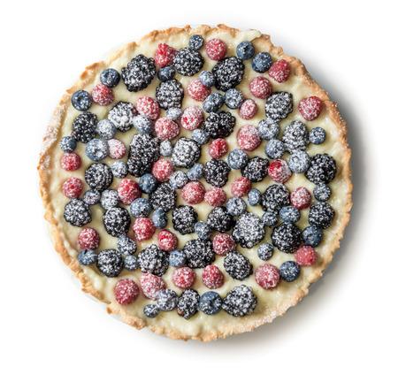 Tart with raspberries, blueberries and blackberries