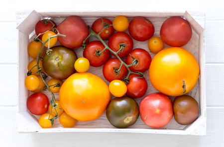 Variety of kinds of tomato in a box Banco de Imagens