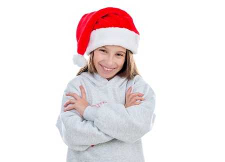 smiling teenage girl in santa hat
