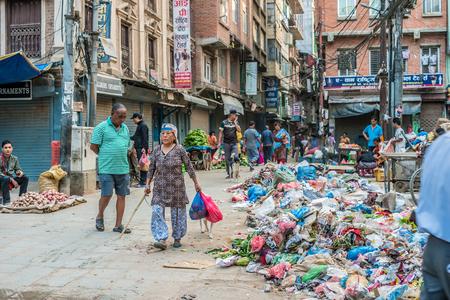Kathmandu City Street with local People Editorial