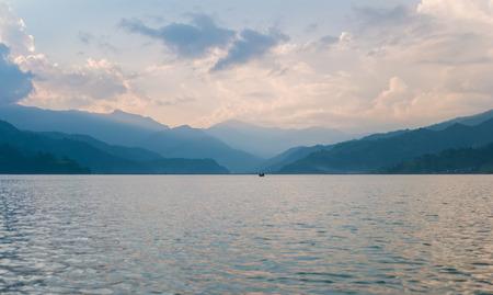 phewa: Lake in the Pokhara at sunset Stock Photo
