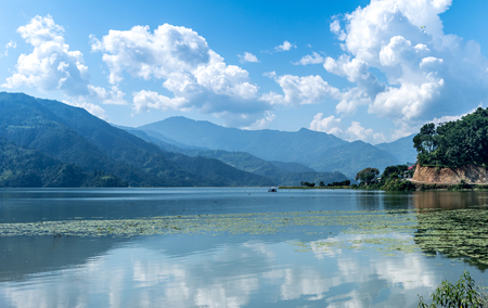 lake in Pokhara on a sunny day Stock Photo