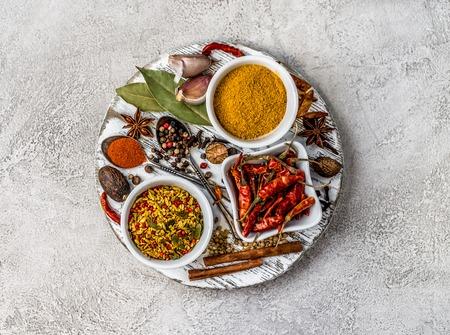spices on a gray concrete background Zdjęcie Seryjne