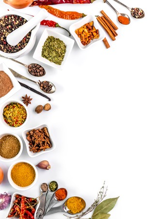 spices on white background isolated with place for text