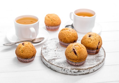 homemade muffins with wild strawberry and green tea Stock fotó