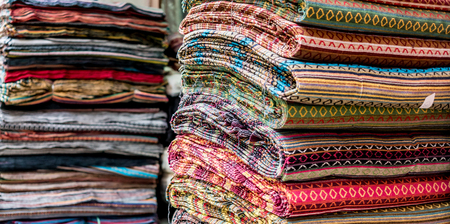Various of colorful fabrics at a market stall in Kathmandu