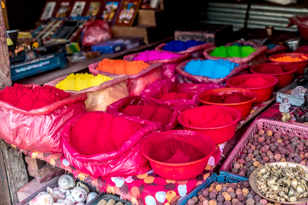 Rangoli powder for sale on Kathmandu street market
