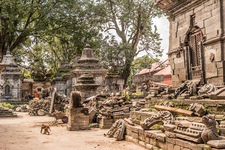 Wall with white small temples around Pashupatinath temple. Kathmandu Stock Photo