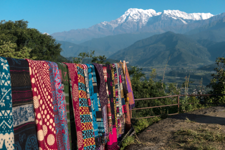 Nepalese handmade scarves for sale, Pokhara, Nepal