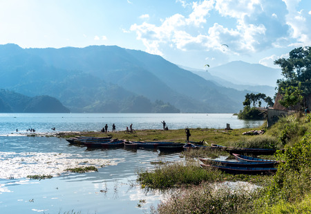 Phewa lake in Pokhara on a sunny day