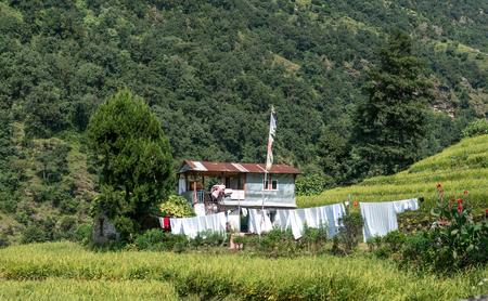 Houses in mountain village, Annaourna region, Nepal. Stock Photo
