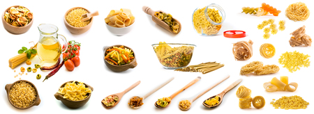 Collage of photos of different shapes of pasta in a variety of dishes
