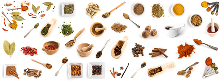 Collage of photos of different spices on spoons and dishes