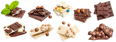 Photo collage of chocolate bars isolated
